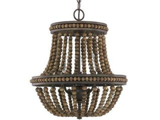 Handley Tobacco with Stained Wood Beads Three light 16 Inch Chandelier