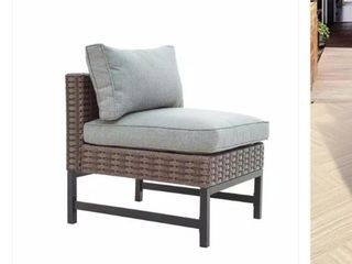 Wicker Armless Middle Sectional Chair With Grey Cushion