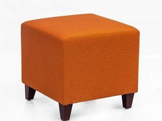 Homebeez Simple British Style Cube Ottoman Footstool  16x16x16  Passionate Orange
