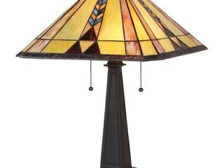 Chloe lighting Kent Tiffany Style 2 light Mission Table lamp with 16  Shade