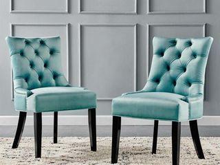 Regent Tufted Performance Velvet Dining Side Chairs   Set of 2 in Mint