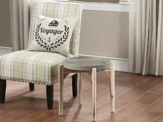 Knowles Mid Century Grey Cement Fiber Tray Top Accent End Table  Chair in Product Photo Not Included