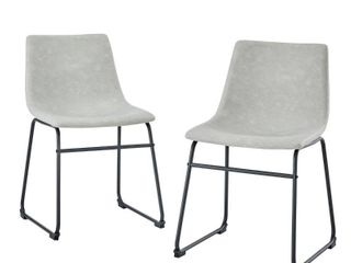 18  Faux leather Dining Chair  Set of 2   Grey