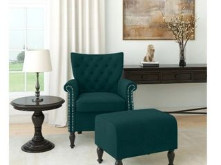 Copper Grove Khalee Button Tufted Rolled Armchair and Ottoman