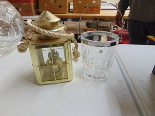 Cristal D Arques lead Glass Bucket and Kerosene lantern