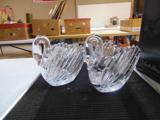 Three lead Crystal Swan Candy Dishes Bleikristall