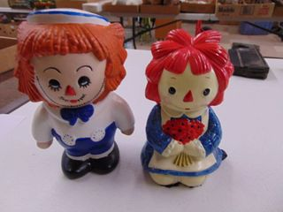 Vintage Raggedy Ann  chip  Japan and Raggedy Andy Figurines