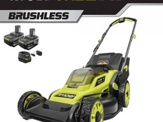 RYOBI 16 in  ONE  HP 18 Volt lithium Ion Cordless Battery Walk Behind Push lawn Mower w  Two 4 0 Ah Batteries Charger Included Retail price  269 00