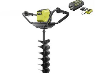 RYOBI 40 Volt HP lithium Ion Cordless Earth Auger with 8 in  Bit and 4 0 Ah Battery and Charger Included RETAIlPRICE 299