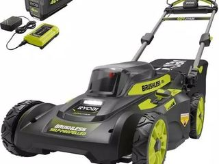 RYOBI 20  40 V Brushless lithium Ion Cordless Walk Behind Mower Pre owned  missing the grass bag