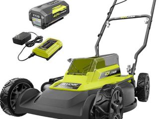 RYOBI 18 in  40 Volt 2 in 1 lithium Ion Cordless Battery Walk Behind Push Mower 4 0 Ah Battery Charger Included  MISSING GRASS BAG