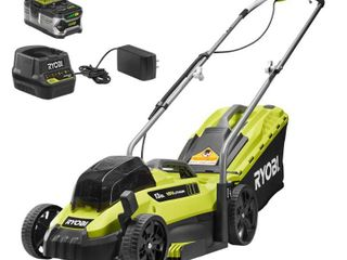 RYOBI 13 in  ONE  18 Volt lithium Ion Cordless Battery Walk Behind Push lawn Mower   4 0 Ah Battery Charger Included
