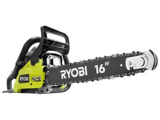 RYOBI 16 in  37cc 2 Cycle Gas Chainsaw with Heavy Duty Case  Missing   Fue line kit Chain saw Tune up kit  instructions and Ethanol shield 2 cycle oil mix   USED   RETAIl PRICE 139 00