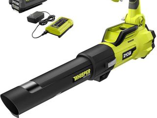 RYOBI 125 MPH 550 CFM 40 Volt lithium Ion Brushless Cordless Jet Fan leaf Blower   4 0 Ah Battery and Charger Included