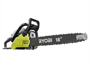 RYOBI 18 in  38cc 2 Cycle Gas Chainsaw with Heavy Duty Case   MISSING  Chain saw tune up kit  fue line kit and Ethanol Shield 2 cycle oil mix  RETAIl PRICE 179 00 BROKEN CHOKE