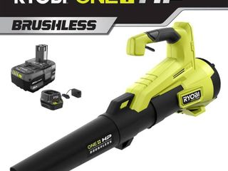 RYOBI 110 MPH 350 CFM ONE  HP 18 Volt Brushless lithium Ion Cordless Jet Fan leaf Blower   4 0 Ah Battery and Charger