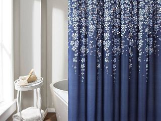 Weeping Flower Shower Curtain Navy   lush DAccor