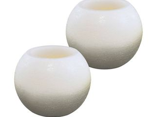 lUMABASE Battery Operated Wax lED Candles   Silver and White Ball  Set of 2