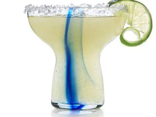 libbey Glass Blue Impressions Margarita Glasses  Set of 6