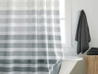 DKNY Highline 72 Inch x 96 Inch Stripe Shower Curtain in Grey