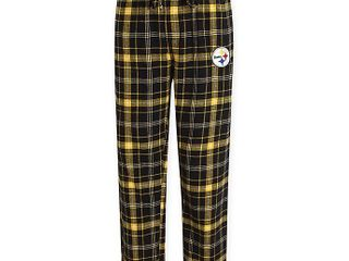 NFl Pittsburgh Steelers Men s Medium Flannel Plaid Pajama Pant with left leg Team logo size large