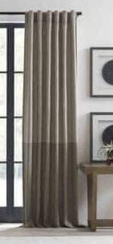 Ed Ellen Degeneres Shadow Rod Pocket back Tab Window Curtain Panel In Grey 52 In