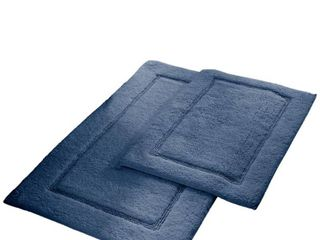2 Pack Non Slip Soft Cotton Bath Rug Set in Denim
