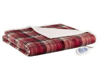 Woolrich Tasha Reversible Plaid Oversized Faux Fur to Berber Electric Throw Bedding
