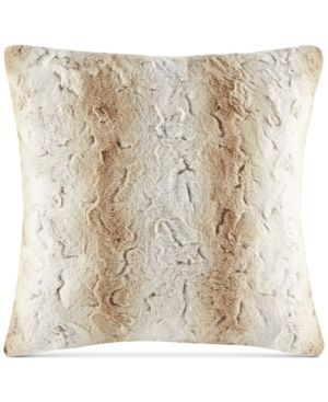 25 x25  Marselle Faux Fur Oversized Throw Pillow light Brown