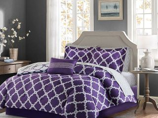 7pc Twin Becker Printed Complete Bed Set Purple Gray