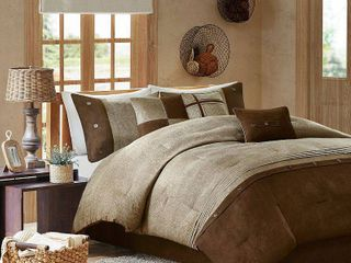 Powell Colorblock Comforter Set  Queen  Brown   7 Piece