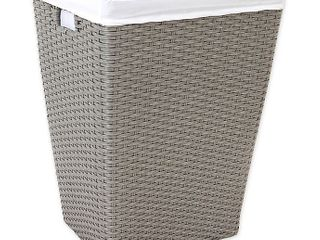 ORG poly  Rattan Tapered Rectangular Hamper Grey light Grey  Retails 49 99