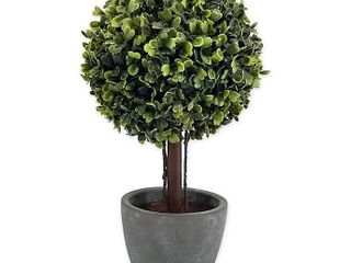 Bee   Willow Home 12in Boxwood Artificial Topiary in cement pot