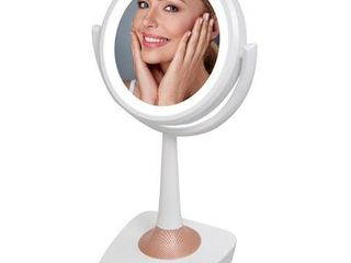 QFX R 72 5 Inch lighted Makeup Mirror and Bluetooth Speaker