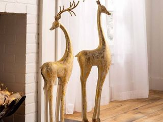 Gold and White Tall slender Deers Statue Decor  Standing  Retails 150