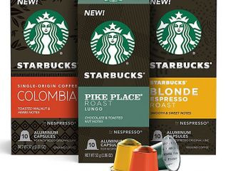 Starbucks by Nespresso Variety Pack Coffee Capsules 30 count  Retails 26 99