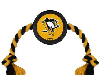 Pets First NHl Pittsburgh Penguins Hockey Puck Toy   Heavy Duty Durable Rubber Dog Toy  Retails 15 99
