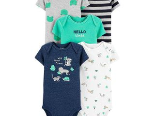 Carter s Baby Boys 5 Pack Wild Printed Cotton Bodysuits