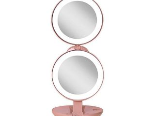 Zadro 1x 10x lED lighted travel mirror in blush  Retails 44 99