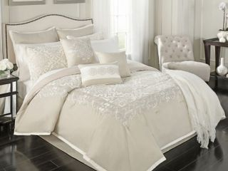 Declan 14 Piece Queen luxury Bedroom Comforter Set In Natural  Retails 87 99