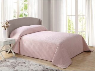 French Tile Quilted King Bedspread in Blush  Retails 80