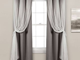 lush Decor Grommet Sheer Curtain Panels with Insulated Blackout lining