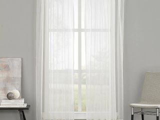 144 x29  Soho Voile Pinch Pleat Sheer Curtain Panel Off White   Curtainworks