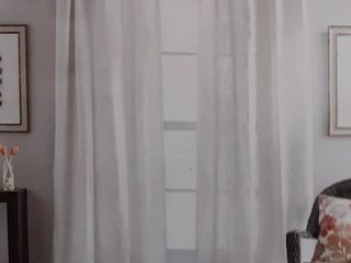 Destinations Seattle Sheer 95  Rope top Window Curtain Panel   White