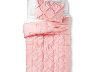 Pinch Pleat Comforter Set Full Queen light Pink 3pc   Pillowfort