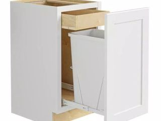 Newport Assembled 18x34 5x24 in  Plywood Shaker Single Wastebasket Base Kitchen Cabinet in Painted Pacific White  Retail Price  460 79