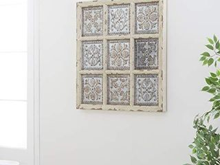 Deco 79 55507 Rustic Wood and Metal Ornate Wall Plaque  31 by 31  Distressed White and Silver