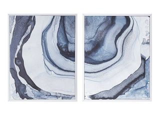 Set of 2  23 5  x 29 5 Ethereal Printed Framed Canvas Decorative Wall Art Set Blue