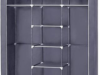 SONGMICS Portable Clothes Closet  Non Woven Fabric Wardrobe with 2 Hanging Rods  9 Storage Shelves  Storage Organizer  Gray URYG12GY