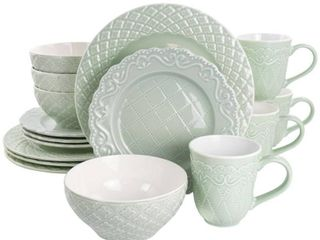 Gibson Home Quilted Eyelet 16 Piece Round light Grey Fine Ceramic Dinnerware Set  Service for 4  light Gray